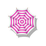 Pink and white striped beach umbrella Stock Photo
