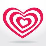 Pink, white striped heart on white background Stock Photos