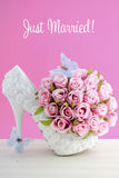 Pink and white theme wedding bouquet concept. stock photo