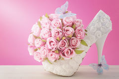 Pink and white theme wedding bouquet concept. Stock Photos