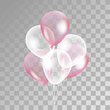 Pink white transparent balloon. On background. Frosted party balloons for event design. Balloons  in the air. Party decorations for birthday, anniversary Stock Image