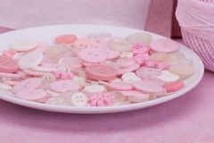 Pink, White And Transparent Buttons.  Stock Photo