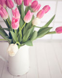 Pink and white tulips on a bucket Stock Photography