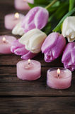 Pink and white tulips and candles on the wooden table. Selective focus Stock Photography