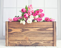 Pink and white tulips on a chest Stock Photo