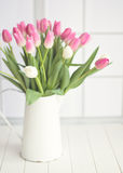 Pink and white tulips on a jar Stock Photography