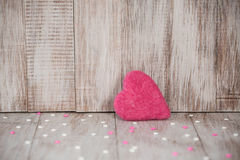 Pink and White Valentines Day Hearts on Wooden Background Stock Image