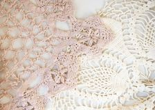 Pink and White Vintage Lace stock image