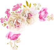 Pink white watercolor flower bouquet for wedding. Decoration with roses and peony vector illustration