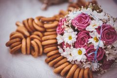 Pink and white wedding bouquet Stock Photos
