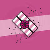 Pink White Wrapped Gift Icon Stars Swirls Stripes Royalty Free Stock Photo