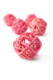 Pink wicker ball over white Stock Photography