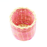 Pink wicker basket isolated Royalty Free Stock Photo