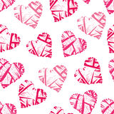 Pink wicker hearts seamless vector print Stock Image