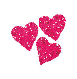 Pink wicker hearts vector design elements Royalty Free Stock Photos