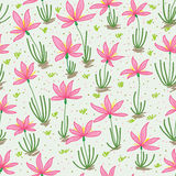 Pink wildflower seamless pattern Royalty Free Stock Photo