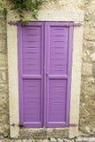 Pink Window. Purple Window on Stone Wall Stock Image