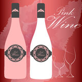 Pink wine bottle. Wine bottle and cup set/aperitif champagne vector/illustration Royalty Free Stock Photography