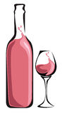 Pink Wine bottle. With glass Royalty Free Stock Image