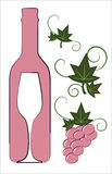 Pink wine bottle and glass Stock Photo