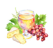 Pink wine glass, vine leaves, cheese and grape berries. Watercolor Royalty Free Stock Photography