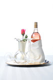 Pink Wine on Tray with Glasses and Rose Stock Images