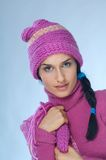 Pink winter. Portrait of young woman in pink Royalty Free Stock Photos