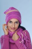 Pink winter. Portrait of young woman in pink Stock Image