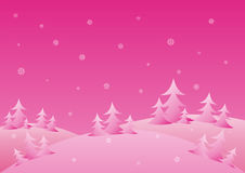Pink winter background. With snowflakes vector illustration