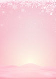 Pink winter background with snow and snowflake Stock Photography