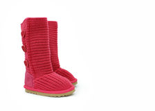 Pink winter boots. Made of wool Royalty Free Stock Photo