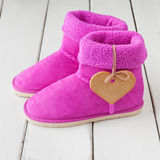 Pink winter boots Royalty Free Stock Photography