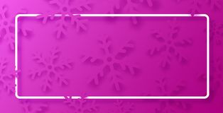 Pink winter poster with white frame and snowflakes. stock photos