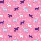 Pink winter reindeer folk vector seamless pattern. Great for winter holidays traditional wallpaper, backgrounds, gifts, packaging design projects. Surface royalty free illustration