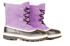 Pink winter shoes Stock Images