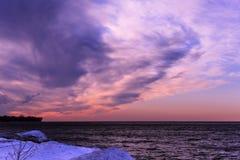 Pink Winter Sunset Stock Photo