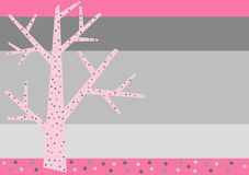Pink Winter Tree Greeting Card Stock Photo