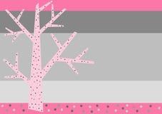Pink Winter Tree Greeting Card Stock Photo