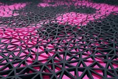 Pink wireframe background. Abstract triangular pattern pink wireframe background. 3D Rendering Stock Photos