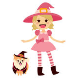 Pink Witch and Dog Stock Photography