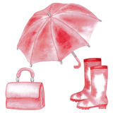 Pink woman accessories set Royalty Free Stock Photography