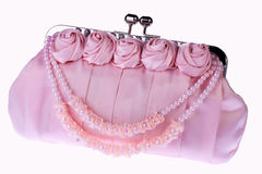 Pink woman bag. Isolated on a white Stock Photo