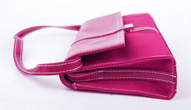 Pink Woman Bag. Dark pink woman bag isolated on white background Stock Photography