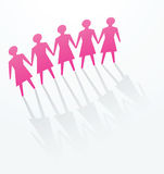 Pink woman cutout paper people Royalty Free Stock Image