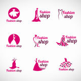 Pink woman dress fashion shop logo vector set design Royalty Free Stock Images