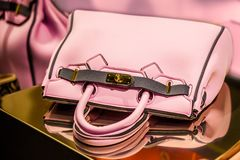Pink woman hand bag. Italian Style pink woman hand bag Stock Photography