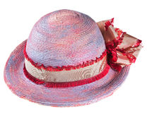 Pink woman summer straw hat Royalty Free Stock Images