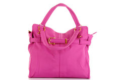 Pink women bag. Isolated on white background Royalty Free Stock Photography