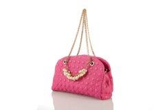 Pink women handbag isolated on white background Royalty Free Stock Photo