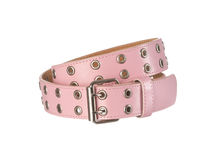 Pink women's belt with holes isoltated Royalty Free Stock Photos